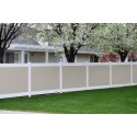 6' Tall Two-Tone White Frame w/ Tan In-Fill Vinyl Privacy Fence