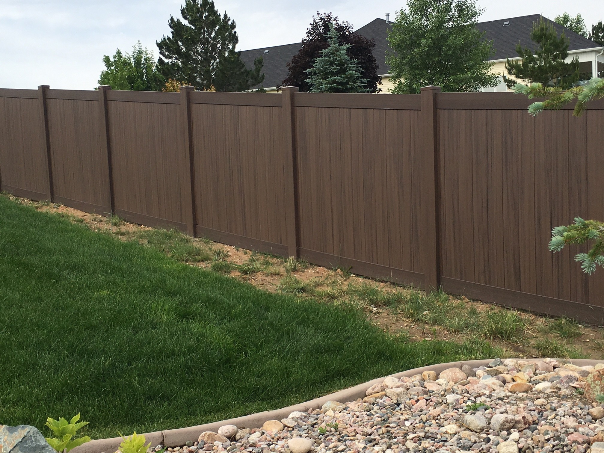 6' Tall Dark Walnut Vinyl Privacy Fence